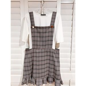 Plus Size TWO PIECE Ribbed Tee & Glen Plaid Dress